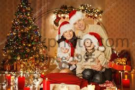 stock photos christmas family portrait in home holiday living