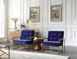 samara modern blue u0026 gold accent chair