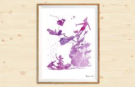 peter pan silhouette you can fly watercolor art print