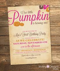 pumpkin birthday invitation fall birthday by invitingdesignstudio