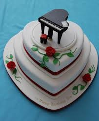 3 Tier Heart Shaped Birthday Cake With Roses And Black Piano On