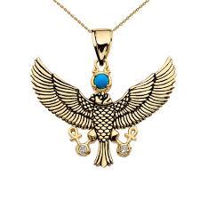turquoise gold pendant necklace images Diamond falcon of tutankhamun holding the 39 ankh 39 cross yellow gold jpg