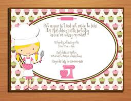 chef baker birthday party invitation cards printable diy