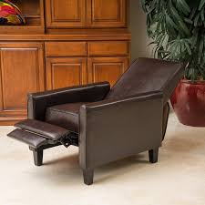 amazon com lucas brown leather modern sleek recliner club chair