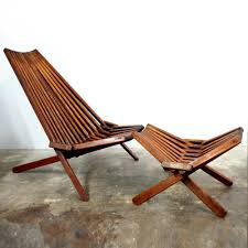 mid century modern teak lounge chair u0026 rare ottoman patio lawn
