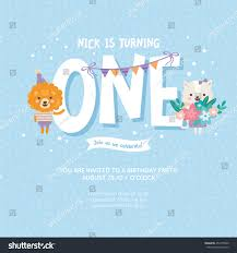 child birthday party invitations cards wishes greeting card greeting card design lion cat stock vector 454779820