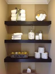bathroom shelf decorating ideas wood bathroom floating shelves maroon stained wall glass corner