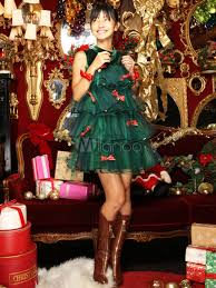 christmas tree costume christmas tree costume green bows ruffle tiered mini dress with