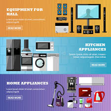 design elements in a home consumer electronics store banners set vector illustration design