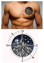 English Flag Tattoos Designs 30 Compass Mountain Moon Stars Chest Tattoo Design Designer