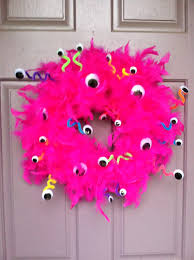 monster wreath foam wreath feather boa glue pipe cleaners