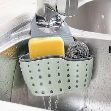 kitchen sink cabinet sponge holder eeekit kitchen hanging sponge holder adjustable rubber sink caddy organizer dishwashing liquid drainer brush rack draining basket for scrubber dish