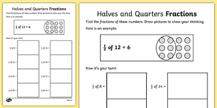 halves and quarters fractions worksheets fraction numeracy