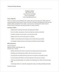 Preschool Teacher Resume Objective Preschool Teacher Resume My Design For An Elementary Teacher