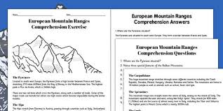 european mountain ranges comprehension worksheets europe
