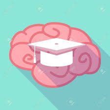 pink graduation cap illustration of a pink shadow brain with a graduation cap