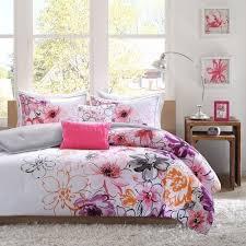 Teen Comforter Set Full Queen by Twin Xl Full Queen Bed Purple Orange Pink Gray Floral 5 Pc