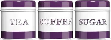 purple canisters for the kitchen 3pc tea coffee sugar canisters jars purple band kitchen storage
