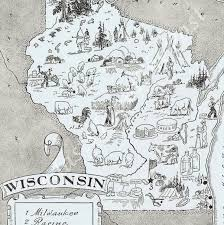 Wisconsin Maps by Vintage Map Of Wisconsin Home Is Where The Heart Is Pinterest