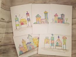 painting greeting cards in watercolor watercolor city original greeting cards paintings set of 5