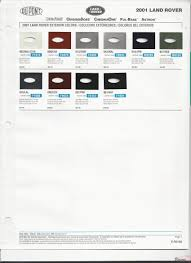 land rover paint chart color reference