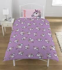 Unicorn Bed Set Emoji Unicorn Single Duvet Set Lilac Co Uk Kitchen Home