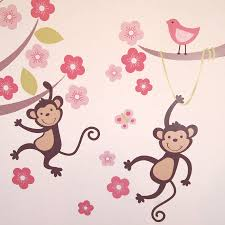 pastel monkey blossom tree wall stickers by parkins interiors