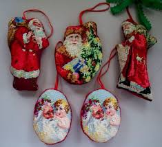 christmas needlepoint vintage christmas needlepoint ornaments 5 in all from antiquecharm