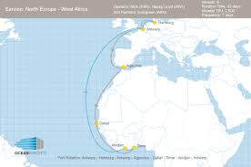 Europe And North Africa Map by Evergreen Takes Slots On Mol And Hapag Lloyd U0027s North Europe U2013 West