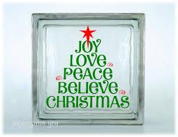 christmas glass block decal christmas vinyl decal joy love