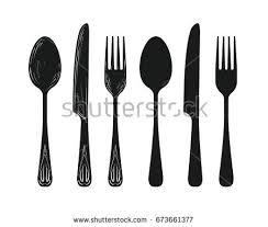 kitchen forks and knives tableware such spoon knife fork silhouette stock vector 673661377
