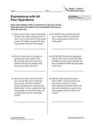 expressions with all four operations 4th 6th grade worksheet