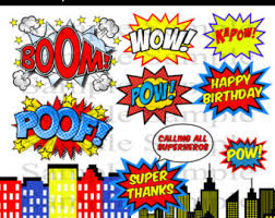 Superhero Photo Booth Unique Superhero Clipart Comic Book Digital Clip Art Text