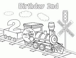 happy 2nd birthday card with train coloring page for kids holiday