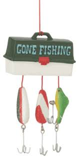 fishing bait and tackle box ornament traditional