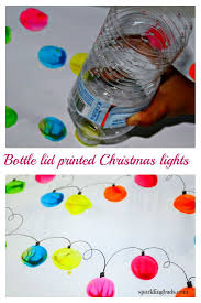 simple christmas light painting with water bottle lid suitable