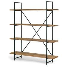 etagere metal ailis brown wood and metal 75 inch 4 shelf etagere bookcase free