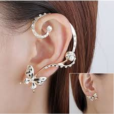 ear cuffs for pierced ears 1 pair rhinestone butterfly clip earring ear cuff piercing