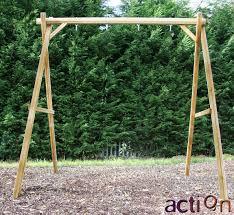 Double Swing Wooden Swing Frame Victory Standalone Swing Set