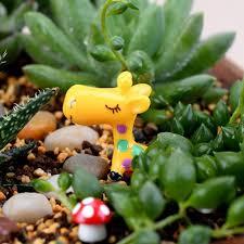 cute plant 2pcs cute plant decor garden ornament miniature giraffe figurine