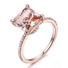 wedding ring big morganite engagement ring princess cut gemstone wedding ring 14k