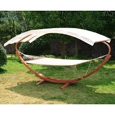 Diy Portable Hammock Stand Outdoor 2 Person Wood Arc Hammock U0026 Stand Set With Canopy Teak