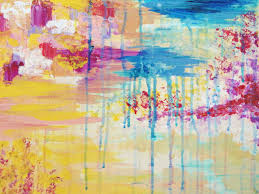 abstract original acrylic painting creation in color free shipping