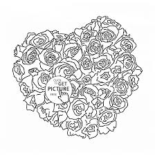 roses heart coloring page for kids flower coloring pages