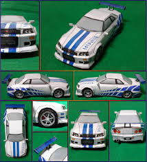 nissan r34 fast and furious nissan skyline gtr r34 2 fast 2 furious papercraft by mironius on