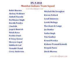 2016 ipl match list vivo ipl match 2016 mumbai indian team players name list girls