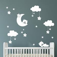 Wall Letter Decals For Nursery Sleepy Bears Moon Clouds Vinyl Wall Lettering Vinyl Wall