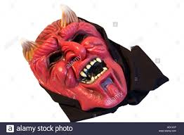 horned devil red face mask halloween stock photo royalty free