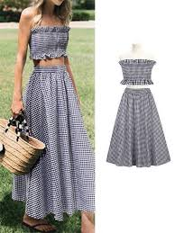 plaid skirt high waist plaid skirt with frilly strapless corsage top whatsmode