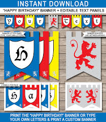 knight party banner template happy birthday banner editable